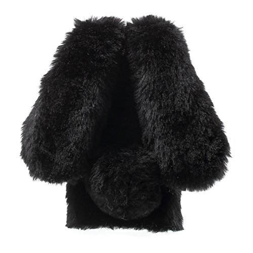 Case Generation Crystal Rubber (Moto E4 Case,Gift_Source Luxury Bling Crystal Rhinestone Faux Fur Plush Cute 3D Rabbit Shaped Fuzzy Fluffy Soft Case Slim Rubber TPU Bumper Cover for Motorola Moto E 4rd Generation (US Version)[Black])