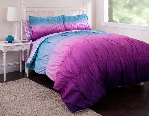 5pc Teen Girl Reversible Purple Tie Dye Twin Comforter Set (5pc Bed in a (Tie Dye Twin Bedding)