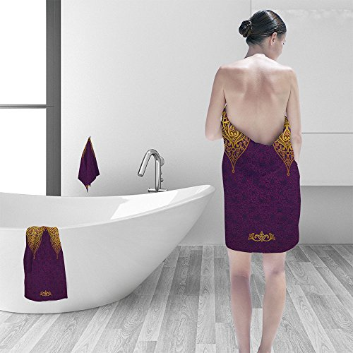Bath towel set Vector seamless border in Eastern style Ornate element for design and place for text Ornamental lace pattern for wedding invitations and greeting cards Traditional golden decor on purp