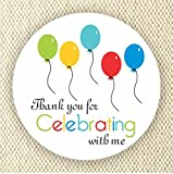 Balloons Favor Stickers - Baby Shower Stickers - Rainbow Colors stickers- Thank you for Celebrating with me - Set of 40 stickers