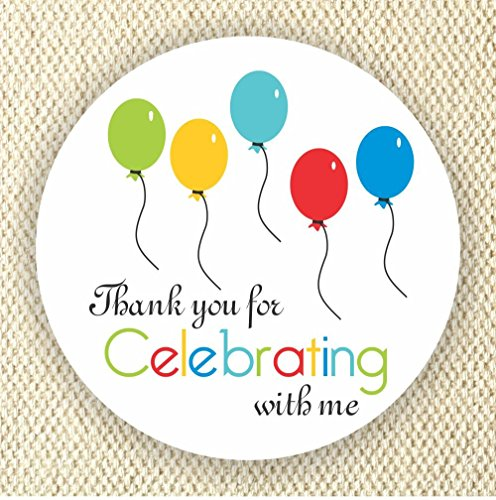 Balloons Favor Stickers - Baby Shower Stickers - Rainbow Colors stickers- Thank you for Celebrating with me - Set of 40 stickers from Philly Art & Crafts