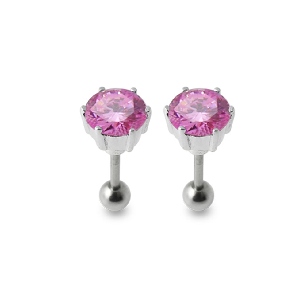 Pink Rose Gems Stone Fancy Round Stone 925 Sterling Silver Ear Piercing jewelry with 16Gx5/16(1.2x8MM) 316L Surgical Steel Barbell and 4MM Ball. Sold by Pair
