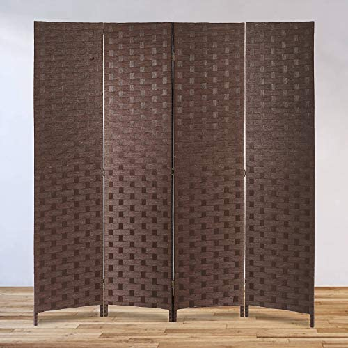 Tyyps Portable Room Divider – Folding Privacy Screen Room with Removable Freestanding 4 Panel -Wooden Room Partitions of Weave Fiber Brown