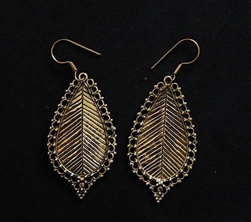 Leaf Earrings- Indian Brass Earrings- Oxidised earrings- Etched Brass earrings- Dangle earrings (Etched Brass Earrings)