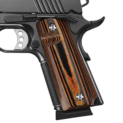 Cool Hand 1911 Full Size High Polished Dymond Wood Grips, Free Screws Included, Mag Release, Ambi Safety Cut, Brand, Lynx, H1-S-L