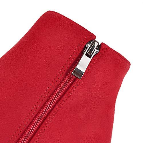 stiletto Caldo Red Camoscio Strass Stivaletto Laterale In Con Punta Stivali Alto Tacco Donna Da Elegante A Cerniera Invernale wIqTpX0