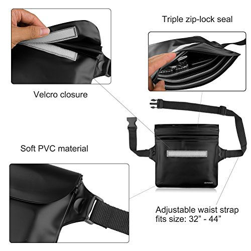 Venterior Waterproof Pouch 2 Pack with Waist Strap Keep Your Phone Wallet License Safe and Dry Perfect Dry Bag for Boating Swimming Snorkeling Fishing Sailing Beach Water Parks
