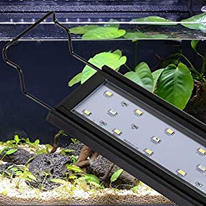 hygger Adjustable Blue White LEDs Aquarium Light with Aluminum Alloy Shell Extendable Brackets,with External Controller…