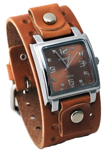 Dial Brown Leather Cuff (Nemesis #BB516B Men's Brown Wide Leather Cuff Band Analog Brown Dial Watch)