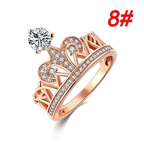 (Ring Sterling Silver,Womens Gold Pretty Crown-Zirconia Ring Set Rongs thumb Jewelry Under 50 Eings Wedding Engagement Rings (8))