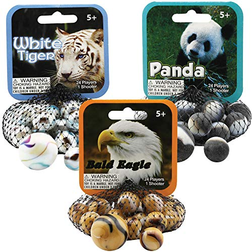Mega Marbles 3 Pack - Bald Eagle, White Tiger, & Panda Game Nets - Includes 1 Shooter Marble & 24 Player Marbles Per Net ()