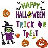Gel Charms Halloween Window Clings 2018 Decor Pumpkin Witch Bats Happy Trick or Treat