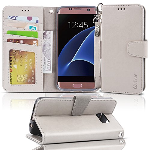 Galaxy s7 Edge Case, Arae [Wrist Strap] Flip Folio [Kickstand Feature] PU Leather Wallet case with ID&Credit Card Pockets for Samsung Galaxy S7 Edge (not for S7 Beige-Grey)
