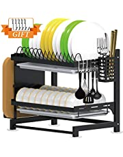 Tsmine Dish Drying Rack with Drain Board, 2-Tier Dish Drainer Stainless Steel Drying Rack with Utensil Holder & Cutting Board Holder, Large Capacity Dish Rack for Kitchen Counter
