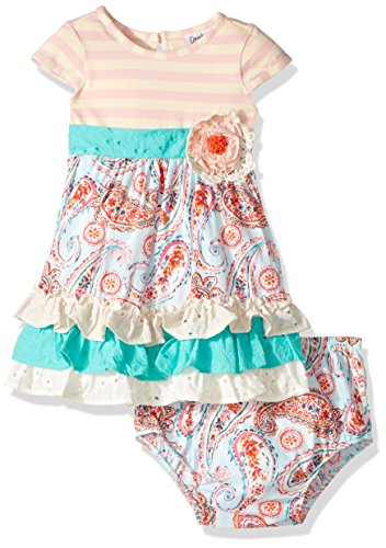 Counting Daisies Baby Girls' Mixed Print Casual Dress, Blush/Ivory/Mint, 24M - Rare Editions Baby Dresses
