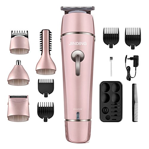 Hair Clippers Electric Man's Grooming Kit,Cordless 5in1 Electric Waterproof Beard Trimmer Shaver Body Trimmer Nose Hair Trimmer Precision Rechargeable For Adults,Men,Kids and Babies (Rose Gold)