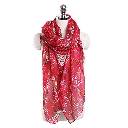 Free Lace Scarf Pattern - Egmy Clearance Sale ❤️ Newest Women Ladies Owl Print Pattern Lace Long Scarf Warm Wrap Shawl (Red)