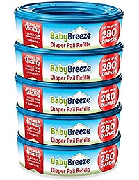 BabyBreeze Diaper Pail Refills Bags for Diaper Genie - 1400 Count (5-Pack)