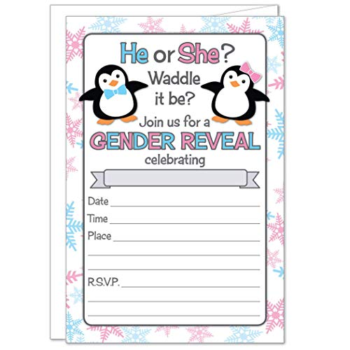 20 Penguin Waddle It Be Gender Reveal Party Invitations with Envelopes
