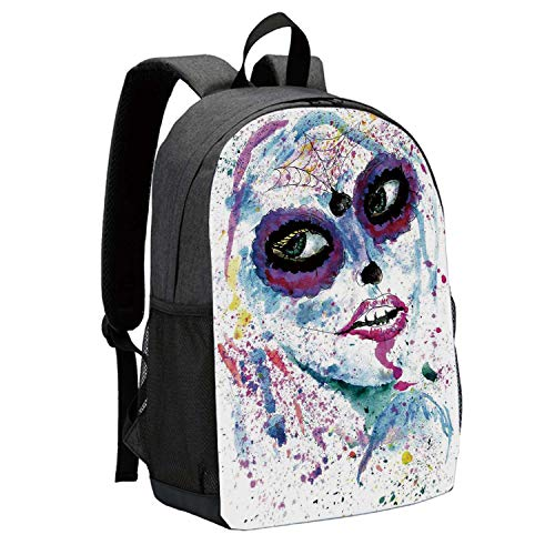 Girls Durable Backpack,Grunge Halloween Lady with Sugar Skull Make Up Creepy Dead Face Gothic Woman Artsy for School Travel,12