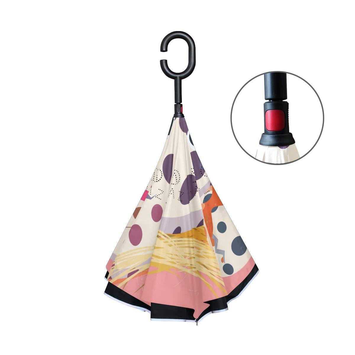 ALINLO - Paraguas invertido con diseño de Huevo de Dinosaurio, Doble Capa, Resistente al Agua para Coche y Lluvia al Aire Libre con Mango en Forma de C: ...