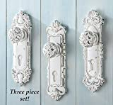 Set of 3 Shabby Chic French Country Door Knob Hand Painted Antiqued White Hanging Hooks Decor