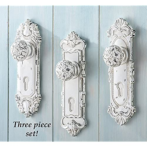 set of 3 shabby chic french country door knob hand painted antiqued white hanging hooks decor - Shabby Chic Wall Decor