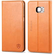 Galaxy S7 Edge Case, SHIELDON Genuine Leather Case Wallet, Premium All-Purpose Flip Book Case Magnetic Closure w/Stand Feature & ID Card Slots Samsung Galaxy S7 Edge, Brown