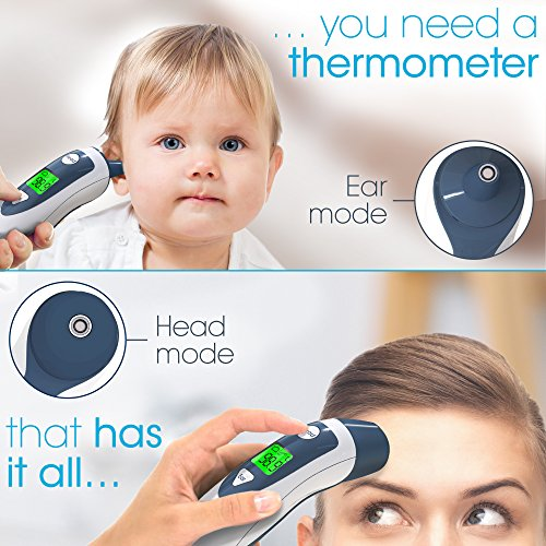 Baby Forehead Thermometer with Ear Function- iProven DMT489 Gray Cap - FDA and CE Approved - Clinical Accuracy Suitable for Baby, Infant, Toddler and Adults by iProvèn (Image #2)'