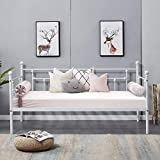 VECELO Daybed Frame Twin Size Multifunctional Metal Platform with Headboard Victorian Style,Mattress Foundation/Children Bed Sofa for Guest Living Room, White
