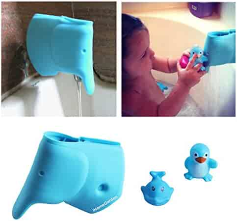 Bath Spout Cover - Bathtub Faucet Cover for Kid - Bath Tub Faucet Extender Protector For Baby - Silicone Soft Spout Cover Baby Blue Elephant - Child Bathroom Cute Accessories - Free Baby Bathtub Toy