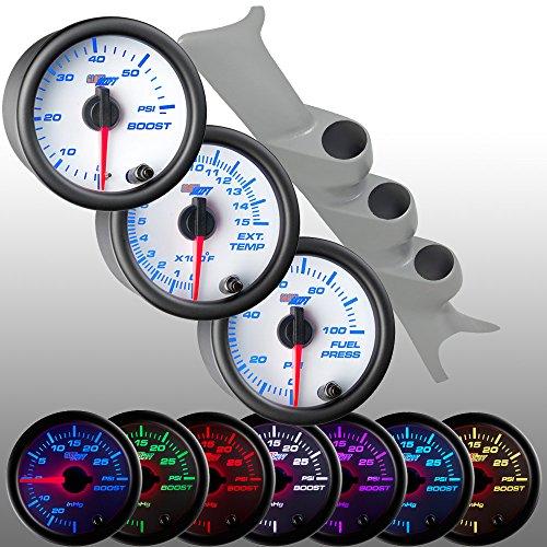 GlowShift 2003-2007 Gray Ford Super Duty PowerStroke 6.0L Diesel Gauge Package + White 7 Color 60 Boost, 1500 EGT & 100 Fuel (Custom Gauge Package)