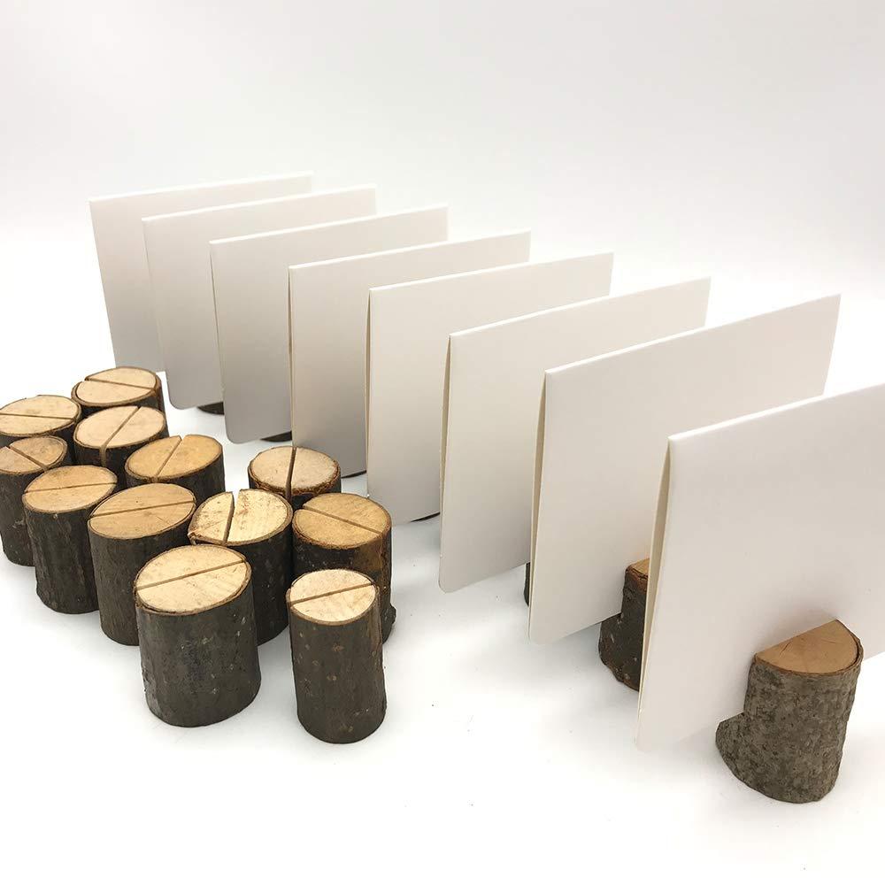 Aisamco 20 Holz Holzsteg Kartenhalter Platzkarte Tischkartenhalter Namesschild Fotohalter,30 St/ück Naturkarton Blanko Kraftpapier Kraftkarton Tischkarten f/ür Hochzeit Deko