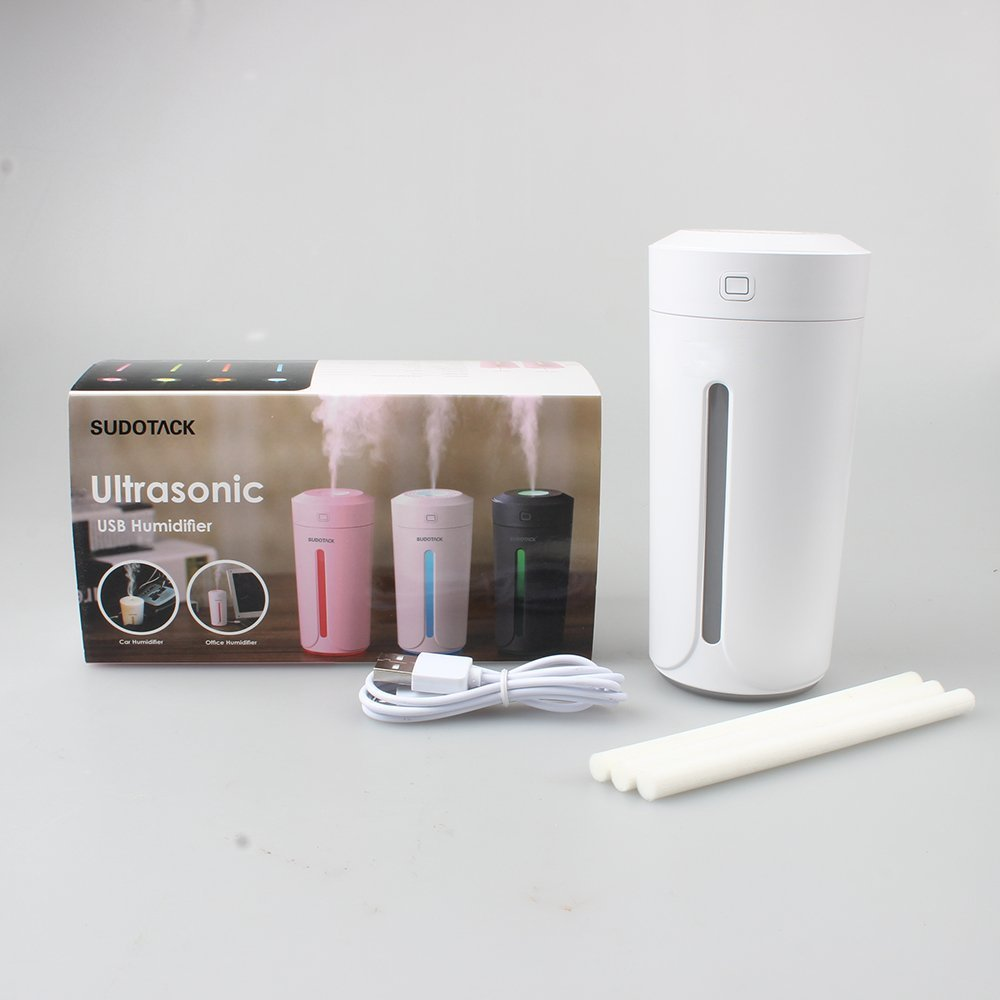 Ultrasonic USB Humidifiers, Cool Mist Personal Small Portable Travel Car Humidifier with Adjustable Mist, Colorful Light, 3-extra Cotton Filter Wick for Women Baby Living Room Bedroom Office-White