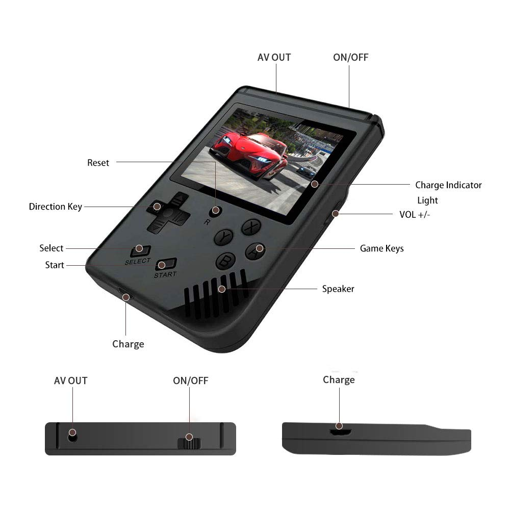 MAXMIKO Handheld Game Console, Portable Video Game 3 Inch HD Screen 313 Classic Games,Retro Game Console Can Play on TV, Good Gifts for Kids to Adult. (Black) by MAXMIKO (Image #2)