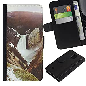 All Phone Most Case / Oferta Especial Cáscara Funda de cuero Monedero Cubierta de proteccion Caso / Wallet Case for Samsung Galaxy S5 Mini, SM-G800 // River Mountain Nature Forest