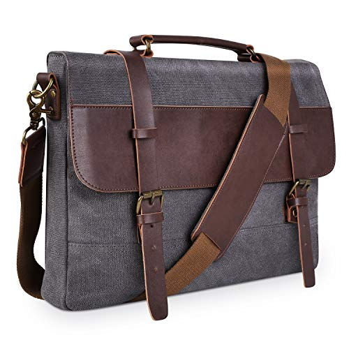 PRASACCO Canvas Messenger Bag Vintage Anti Thief Water Resistant Tactical Briefcases Crossbody School Travel Bag with Shoulder Strap for Men Women