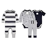 Burt's Bees Baby Baby Boys' 100% Organic Cotton Coverall, Bodysuits and Pant Set, Twinkle Bee, 0-3 Months