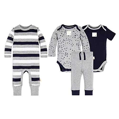 Burt's Bees Baby Unisex Baby 4-Piece Clothing Set, Bodysuit, Romper Pant Bundle, 100% Organic Cotton, Twinkle Bee, 6-9 Months