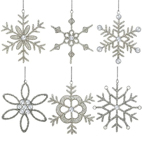 (Set of 6 Handmade Snowflake Iron and Glass Pendant Christmas Ornaments, 6 Inches)