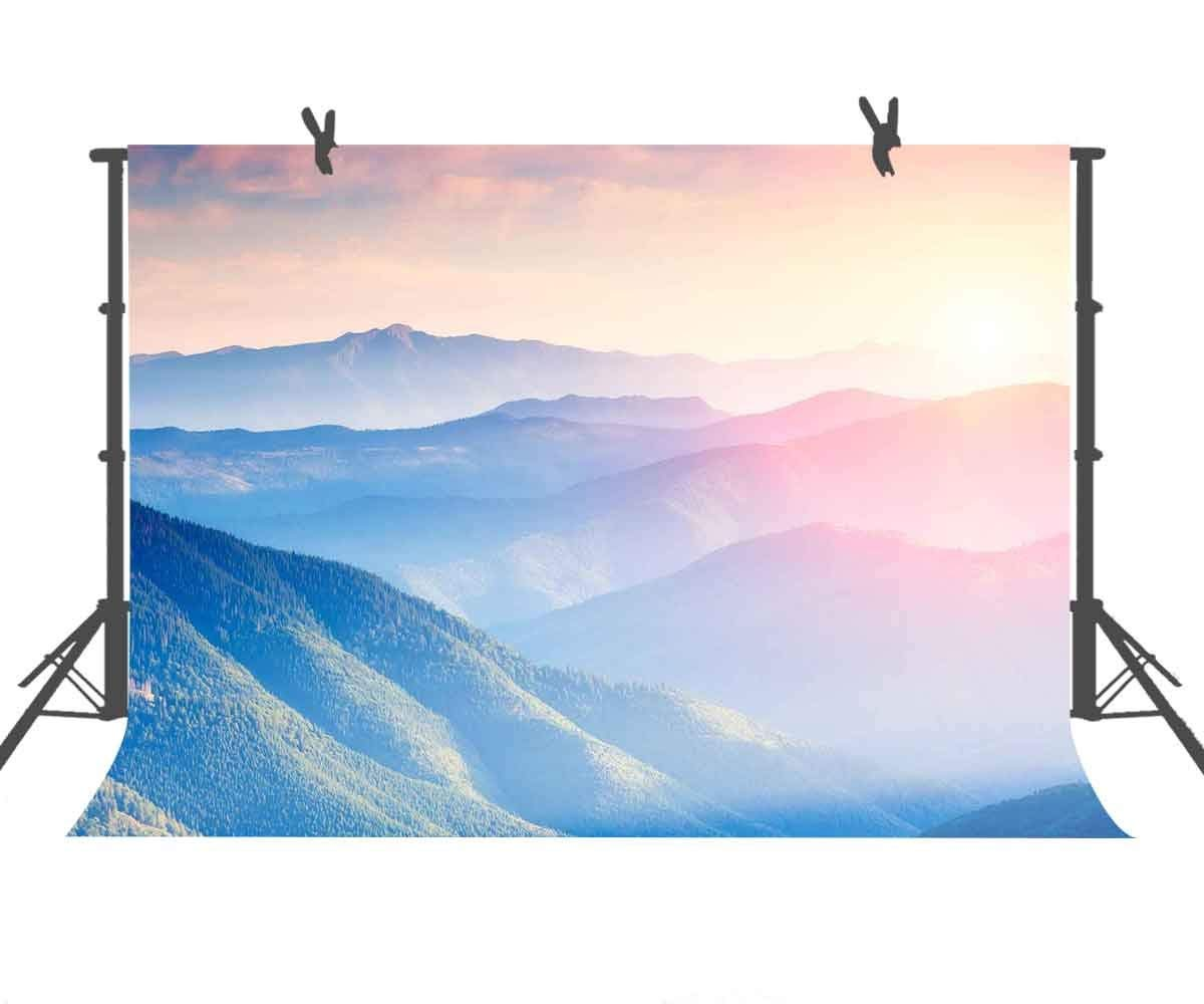 Natural Photography Backdrops 9 X 6 FT colorful Sunset Landscape Photography Backdrop bluee Mountains and Pink Clouds Background for Photo Booth Screen Backdrop or YouTube Background Props ST960242