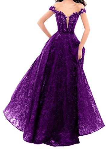 La_mia Braut Hochwertig Spitze Schulter Durchsichtig Abendkleider Ballkleider Partykleider Abschlussballkleider A-Linie Rock Dunkel Lila