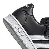 adidas Unisex Grand Court Sneaker, Black White, 2 M