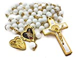 Saint Benedict Rosary Clear White Glass Beads St San Benito Cross NR Medal Catholic Necklace