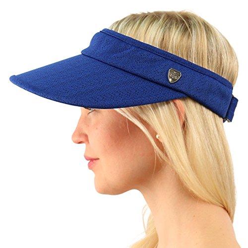 UPF UV Sun Protection Wide Brim 100% Cotton Beach Pool Visor Golf Cap Hat Blue