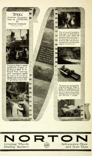 Rolling Mill Equipment (1927 Ad Norton Industrial Steel Ignots Grinding Rolling Mill Machinery Labor - Original Print Ad)