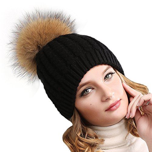 Yarn Sahara (Women Winter Knitted Pom beanie-Fur Hat Big Raccoon Pom Pom Hat Women Crochet Knit Bobble hat)