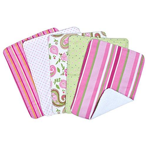 Paisley Burp Cloth Set - Trend Lab 5 Piece Burp Cloth Bundle Box Set, Paisley Park