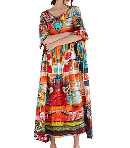 - ELLAZHU Women's Summer Baggy Scoop Neck Abstract Print Maxi Beach Dress GA1396 Red