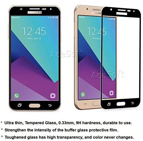 High Definition 9H Hardness Shockproof Tempered Glass Screen Protector Guard Shield Saver Armor Cover [Easy to Install] for Samsung Galaxy J7 Perx SM-J727P Android phone